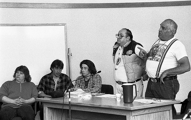 "PHOTO COURTESY OF ORIN LANGELLE Abenaki Chief Homer St. Francis (right), points finger at the judge who presided over court cases against Abenaki for their refusal to recognize the state of Vermont or the U.S. The judge told St. Francis that he was out of order and the chief replied, ""No judge, you're out of order."" (1991)"