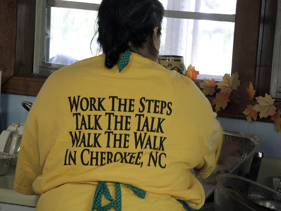 T-shirt of the Cherokee woman responsible for feeding those in attendance at the Indigenous Environmental Network Campaign to STOP GE Trees Action Camp.