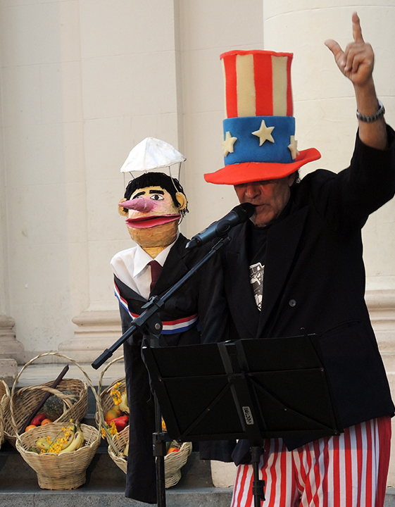 During the skit Uncle Sam manipulate puppet depicting Horacio Cartes, President of Paraguay. PhotoLangelle