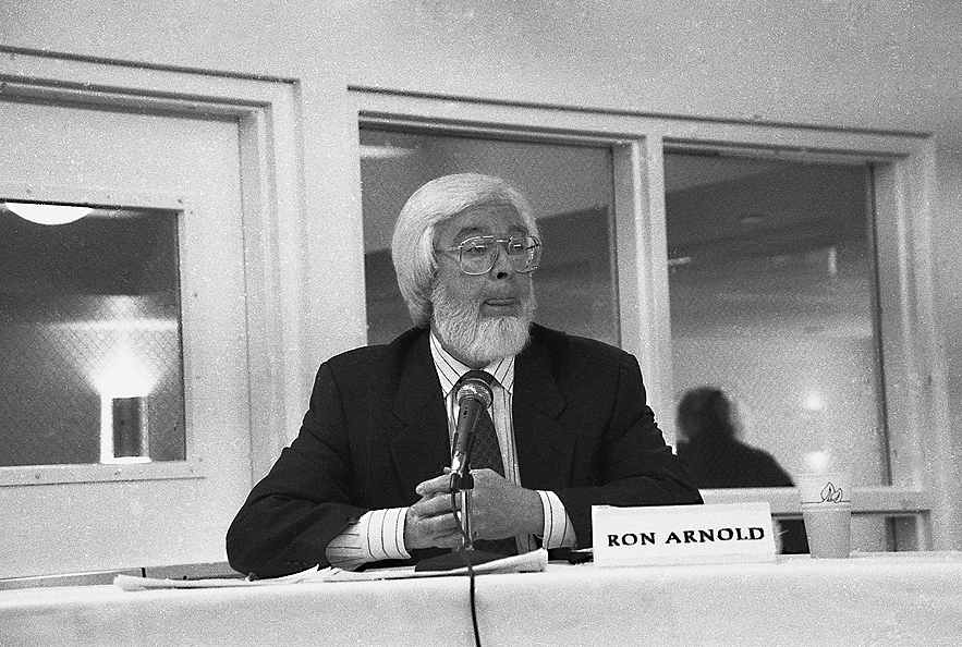 Wise-Use guru, Ron Arnold (above biting his tongue) debated Davis Brower in the 1990s in New England. Photo: Langelle